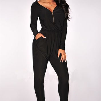Black Long Sleeve Front Zipper Jumpsuit