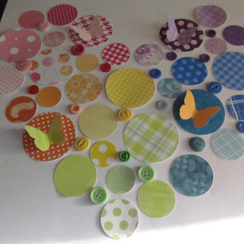Circles Buttons Butterflies Scrapbooking Embellishment Rainbow of Colours
