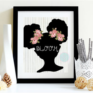 Girl Nursery Printable, 8x10, Shabby Nursery Gift,Afro American Girl, Afro Puffs Print, Black Art