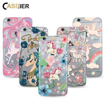 Caseier Luxury Unicorn Phone Cases For iPhone 6 6s Luxury Soft Silicone TPU Covers For iPhone 6 6s Plus Rhinestone Funda Capinha