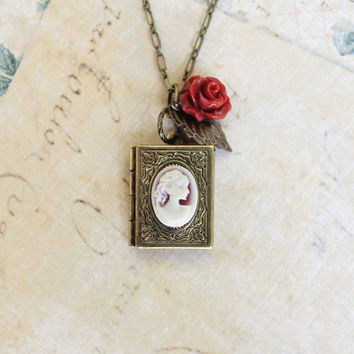 Cameo Necklace Book Locket Pendant Deep Red Rose Charm Romantic Jewellery Secret Hiding Place Vintage Style Cameo Gift For Book Lover