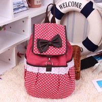 Sweet Dot Bow Lace Canvas Backpack-Red