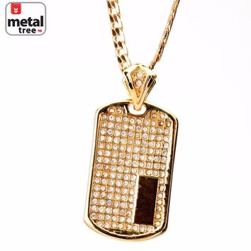 "Jewelry Kay style Men's Hip Hop Gold Toned Stone Dog Tag 24"" 4 mm Cuban Chain Pendant Necklace Set"
