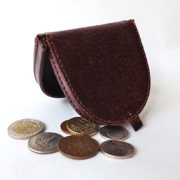 Vintage Leather Coin Purse, English Brown Leather Coin Pouch, Female Gift, Male Gift,  Hide Wallet, Money Holder, Vintage Fashion Accessory