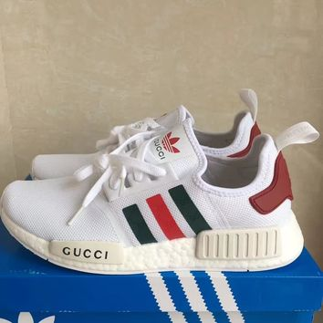 Adidas NMD X Gucci Fashion Women Men Leisure Running Sports Shoes Sneakers White I