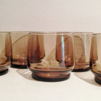 Mod Mid Century Smoked Glass Lowball or Water Glasses Set of 8