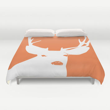 Duvet Cover, Orange Deer Duvet Cover, rustic bedroom decor, animal duvet cover, king duvet cover, queen size duvet covers