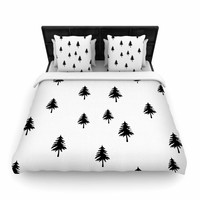 "Suzanne Carter ""Pine Tree"" Black White Woven Duvet Cover"