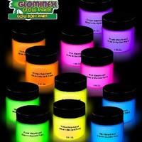 12ct Glominex Glow in the Dark Face and Body Paint 1 oz Jars - Assorted Colors