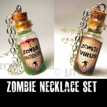 Zombie Friendship Necklace Set - Zombie Antidote & Zombie Virus Cork Bottle Glass Necklace - Best Friend Necklace - Halloween Jewelry