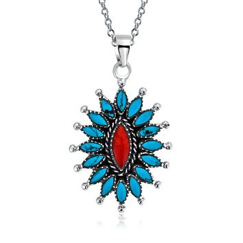 Oval Concho Red Coral Enhanced Turquoise Silver Pendant Necklace