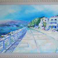 Fine Art -Herceg Novi landscape- Oil Painting on Canvas - TEXTURED Painting - Hand Painted Home Decor