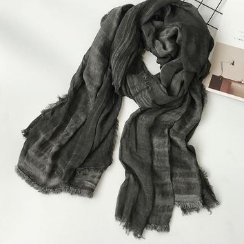 Unisex Style Winter Scarf Cotton And Linen Solider Color long women's scarves shawl fashion men scarf