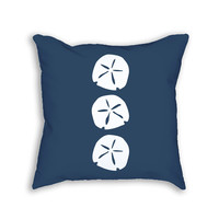 Navy Blue Sand Dollar Decorative Throw Pillow