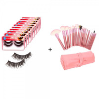 22pcs Makeup Brush Set with Bag Pink + 20 Pairs Soft Synthetic Fiber False Eyelash HR120