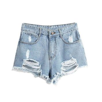 ESBONRZ European American Summer Wind Female Blue High Waist Denim Shorts Women Worn Loose Burr Hole Shorts New Sale