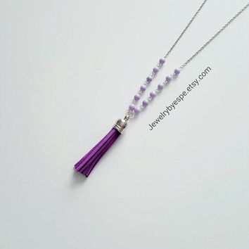 Long Leather Tassel Necklace Purple Necklace Lilac Necklace Boho Necklace Bohemian Necklace Gypsy Necklace