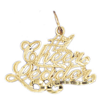 14K GOLD SAYING CHARM - #1 CHEER LEADER #10759