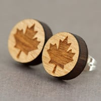 Maple Leaf Stud Earrings : Canadian, Canada, Toronto Maple Leafs, Cherry Wood Earrings, Round, Pride, Proud, Canada Day, Red and White, 12mm