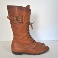 Joan and David Brown Lace Up Leather Boots / size 7