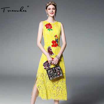 2017 Summer Runway Designer Dress Women's Hight Quality Multicolor Floral Embroidery Beading Mid Calf Length Yellow Lace Dress