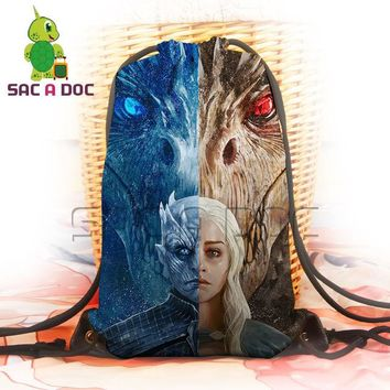 Cool Backpack school Cool Game of Throne Mother The Others Split Printing Backpack Women Men Daily Casual Drawstring Bag Portable Soft Travel Bag AT_52_3