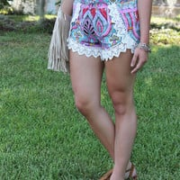 Pink Paparazzi Lace Trimmed Shorts