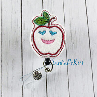 Apple for the Teacher Badge Holder with Retractable ID Badge Reel for Teachers hand crafted by SantaFeKiss