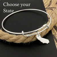 Expandable Bangle Bracelet STERLING SILVER Personalized Choose your State Charm Adjustable Bangle bracelet United States of America Bracelet