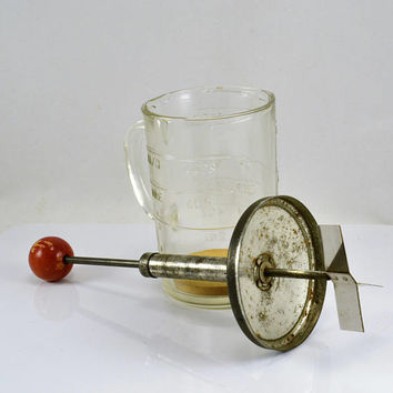 Nut Chopper Measuring Cup - Pamco - Red Ball Handle - Vintage Kitchen