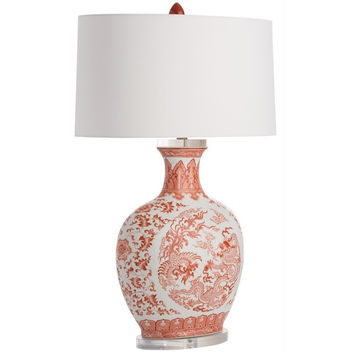 Orange Dragon Porcelain Lamp
