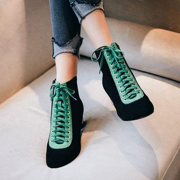Multi-colored Fashion Lace up Boots