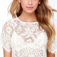 Glamorous Slowly but Sheerly Cream Lace Crop Top