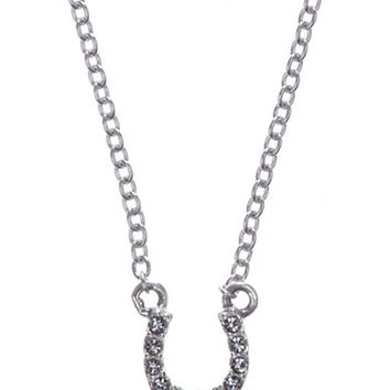 Judith Jack Sterling Silver and Crystal Horseshoe Pendant Necklace