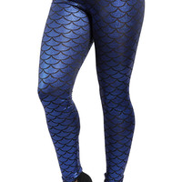 Dark Blue Shiny Mermaid Leggings Design 35
