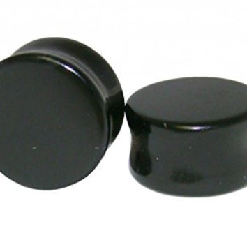 Pair Of Black Onyx Double Flare Stone Plugs 25Mm 1 Inch
