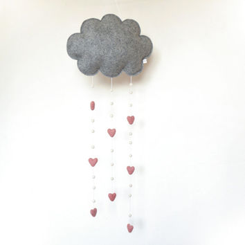 Felt Cloud Baby Mobile, Wall Hanging, Window Hanging, Grey Cloud, Pink Hearts, Cloud Mobile
