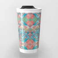 Abstract colorful pattern design Travel Mug by Jeanette Rietz
