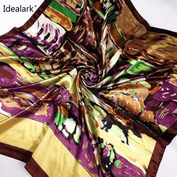 spring 2017 hot sale satin square brand silk scarf,90*90cm, beautiful color floral women scarf