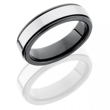 Tungsten carbide and ceramic 6mm mens wedding band