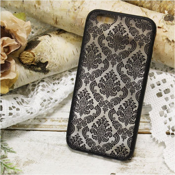 Black lace damask  iPhone 6, 6S  phone case, cell phone cover, black | CP3