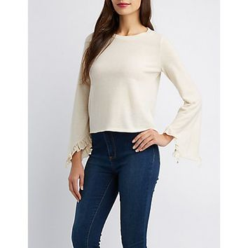 Ruffle-Trim Bell Sleeve Hacci Top | Charlotte Russe
