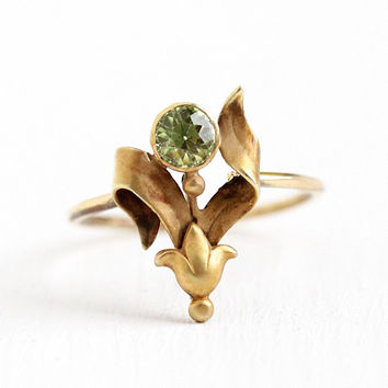 Vintage Peridot Ring - 18k Yellow Gold Green Gemstone - Antique Size 5 Stick Pin Conversion .33 CT August Birthstone Fine Flower Jewelry