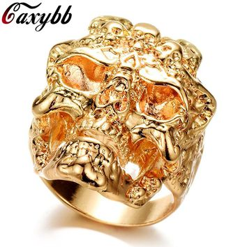 Gold / Silver color Stainless Steel Men Ring Cool Dragon Skull Hip Hop Rings for man Vintage Punk Fashion Jewelry
