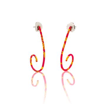 ALL NEW Pink Enamel and Gold Spiral Hoops