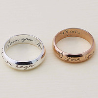 SALE 22% OFF - Your Actual Handwriting Ring - Actual Signature Ring - Couple Jewelry - Engrave Ring