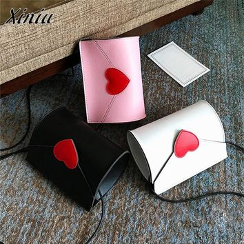 2017 Fashion Women PU Leather Handbag Red Heart Pattern Crossbody Shoulder Bag Messenger Bags Phone Coin Purse bolsa feminina