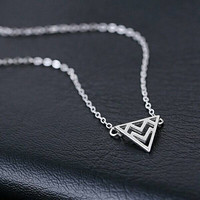 Sterling Silver Necklace,Geometric Necklace,Triangle Necklace,Chevron Necklace,Minimal Necklace,Personalized Jewelry,Minimalist Necklace