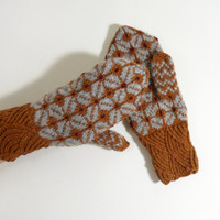 Hand Knitted Mittens - Brown and Gray, Size Medium
