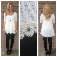 Cream Knit Lacey Tunic
